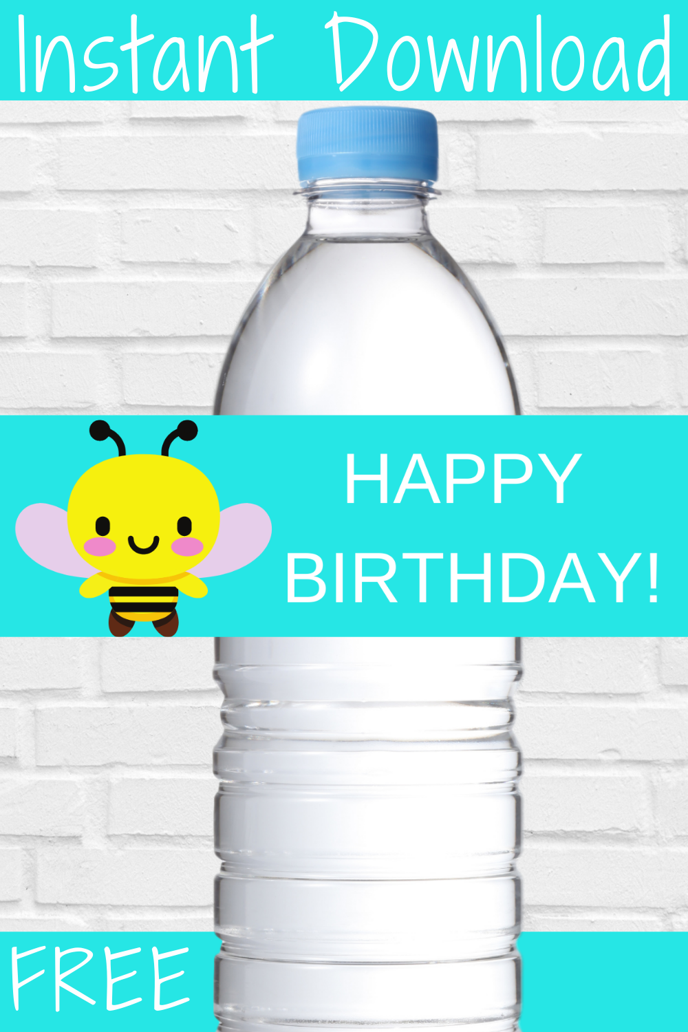 free printable bumble bee water bottle label for a toddler birthday party