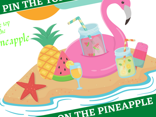 Tropical Party Game: Pin the Top on the Pineapple | Tropical Theme Birthday Party Activity
