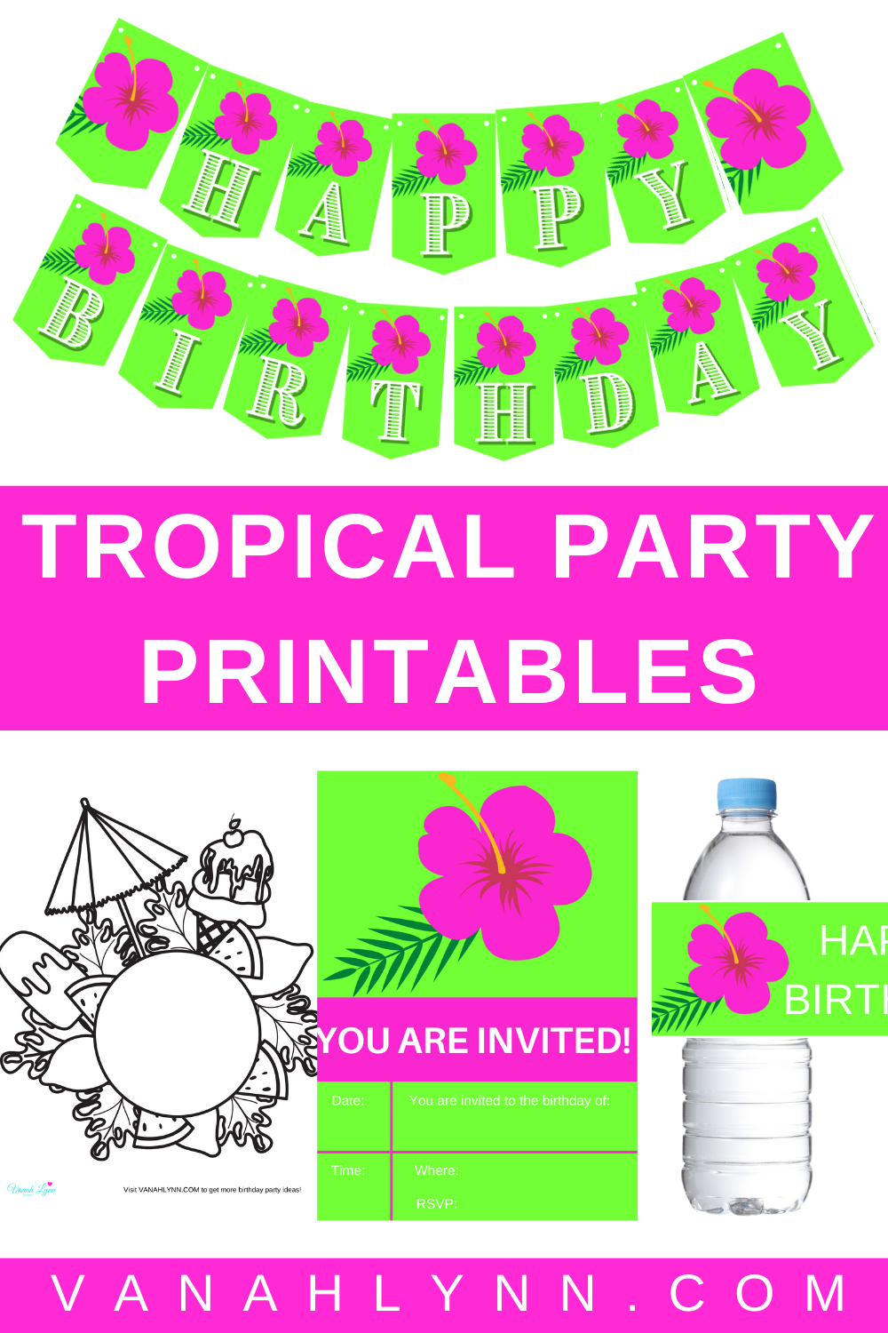 tropical birthday party supplies for kids party