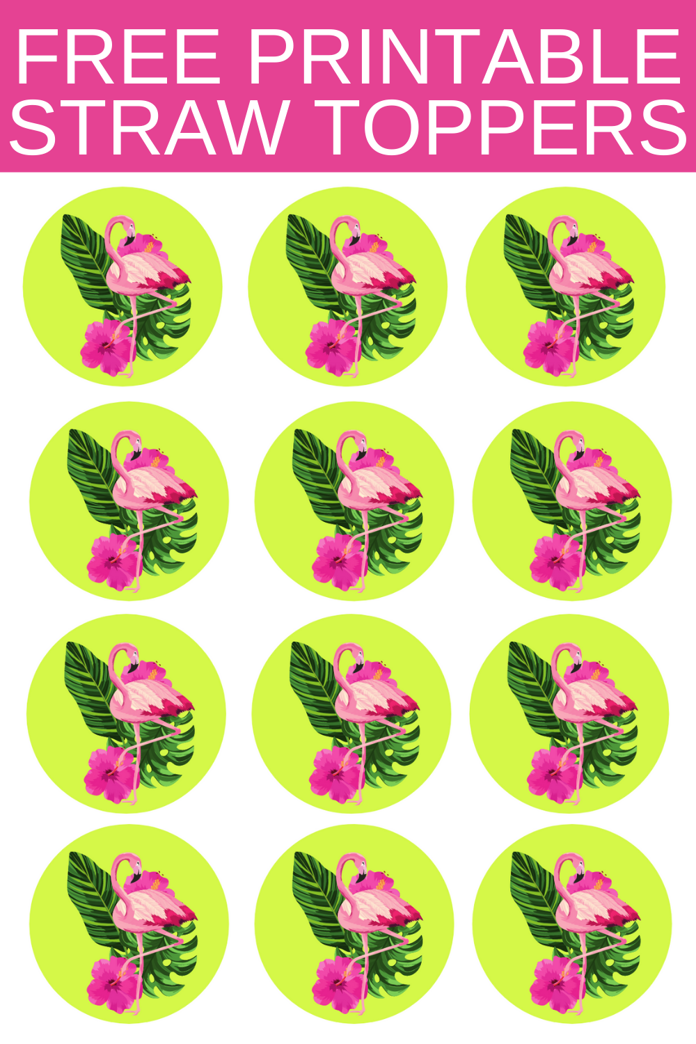 free printable tropical straw toppers