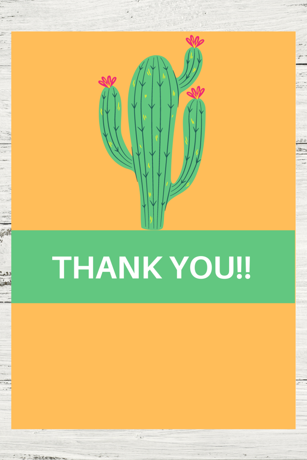 cactus thank you card for a toddler girls birthday party