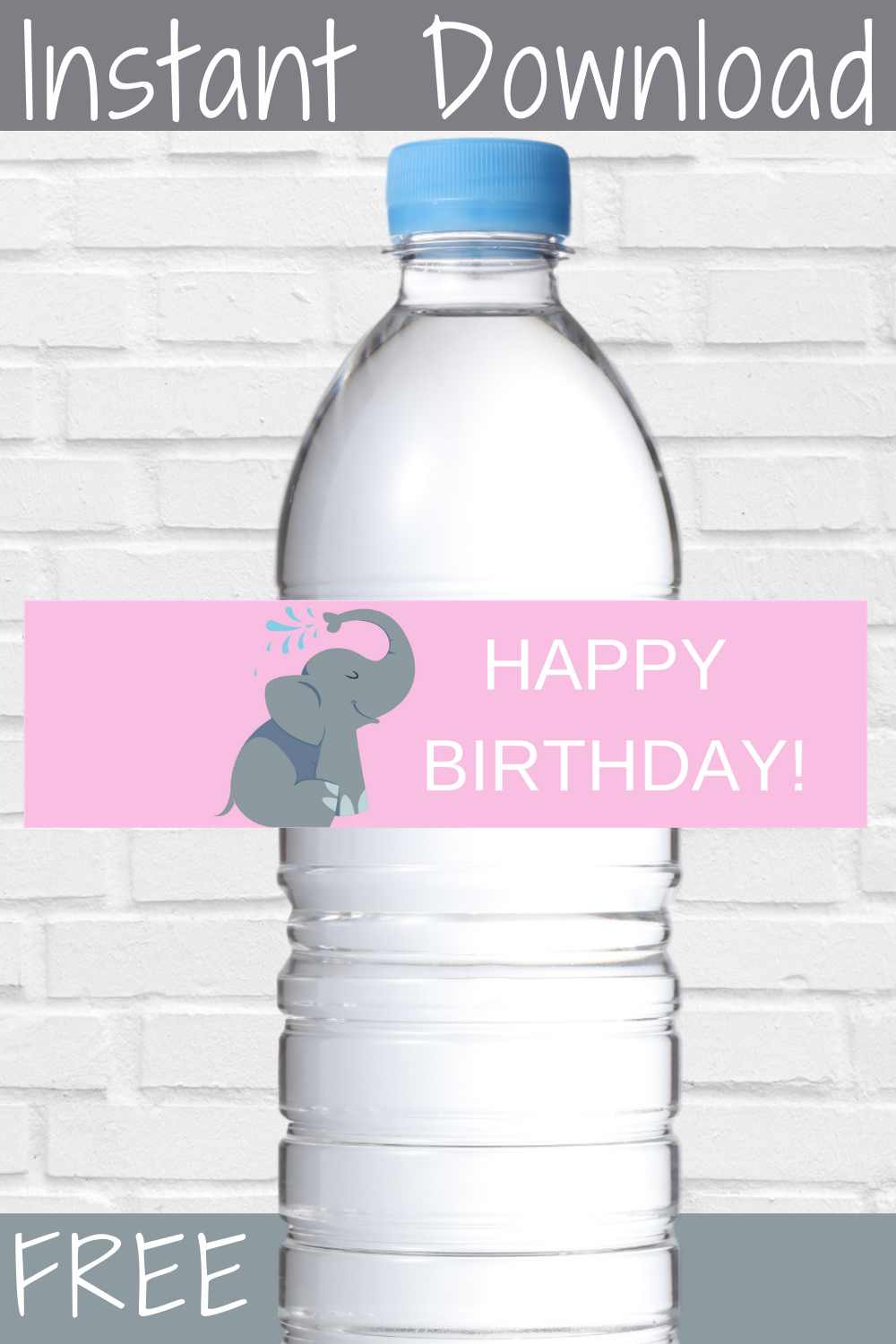 elephant 1st birthday water bottle label