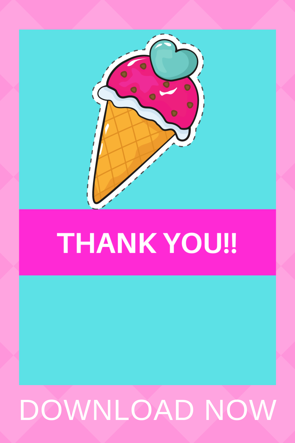 first birthday girl ice cream thank you card for toddlers