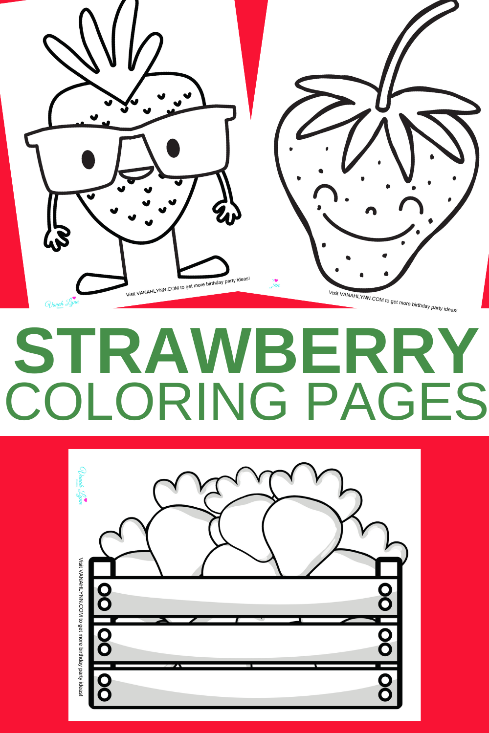 free download: strawberry coloring sheets for a birthday party
