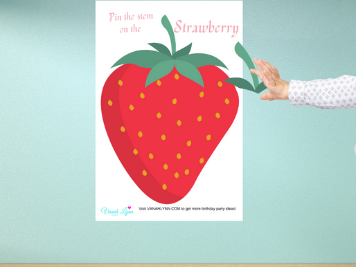 Strawberry Themed Party Game: Pin the Stem on the Strawberry | Strawberry Birthday Activity