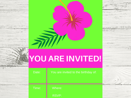 Tropical Invite | Free Printable Tropical Themed Invitation | Tropical Birthday Party Ideas
