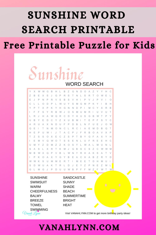 free printable sunshine word search for kids