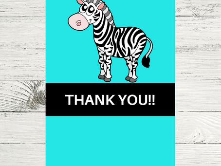 Zebra Thank You Card | Free Printable Zebra Themed Thank You Note | DIY Zebra Birthday Party Ideas