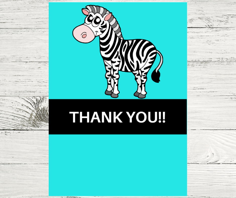 zebra thank you card for a birthday party