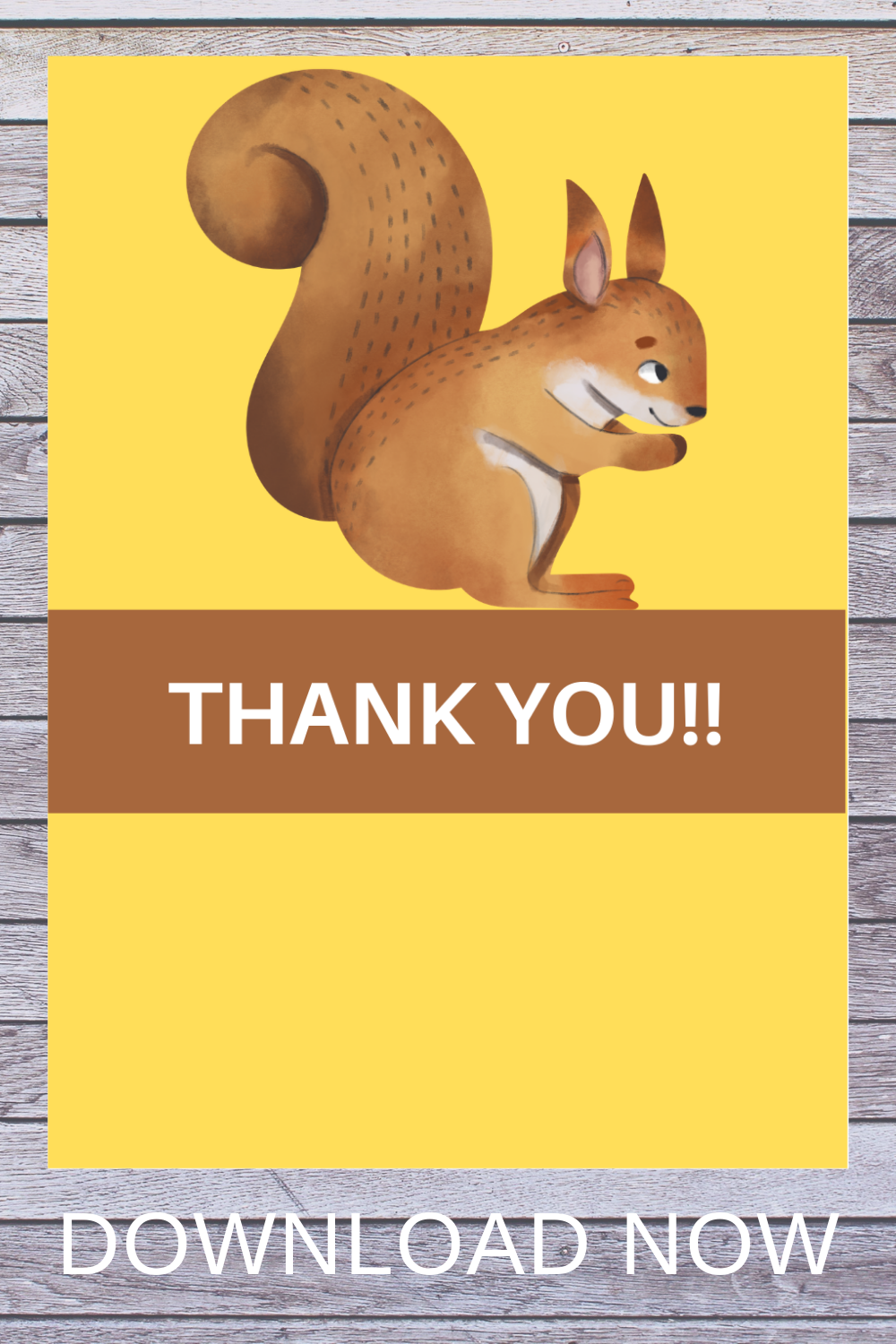 1st birthday woodland thank you note for kids
