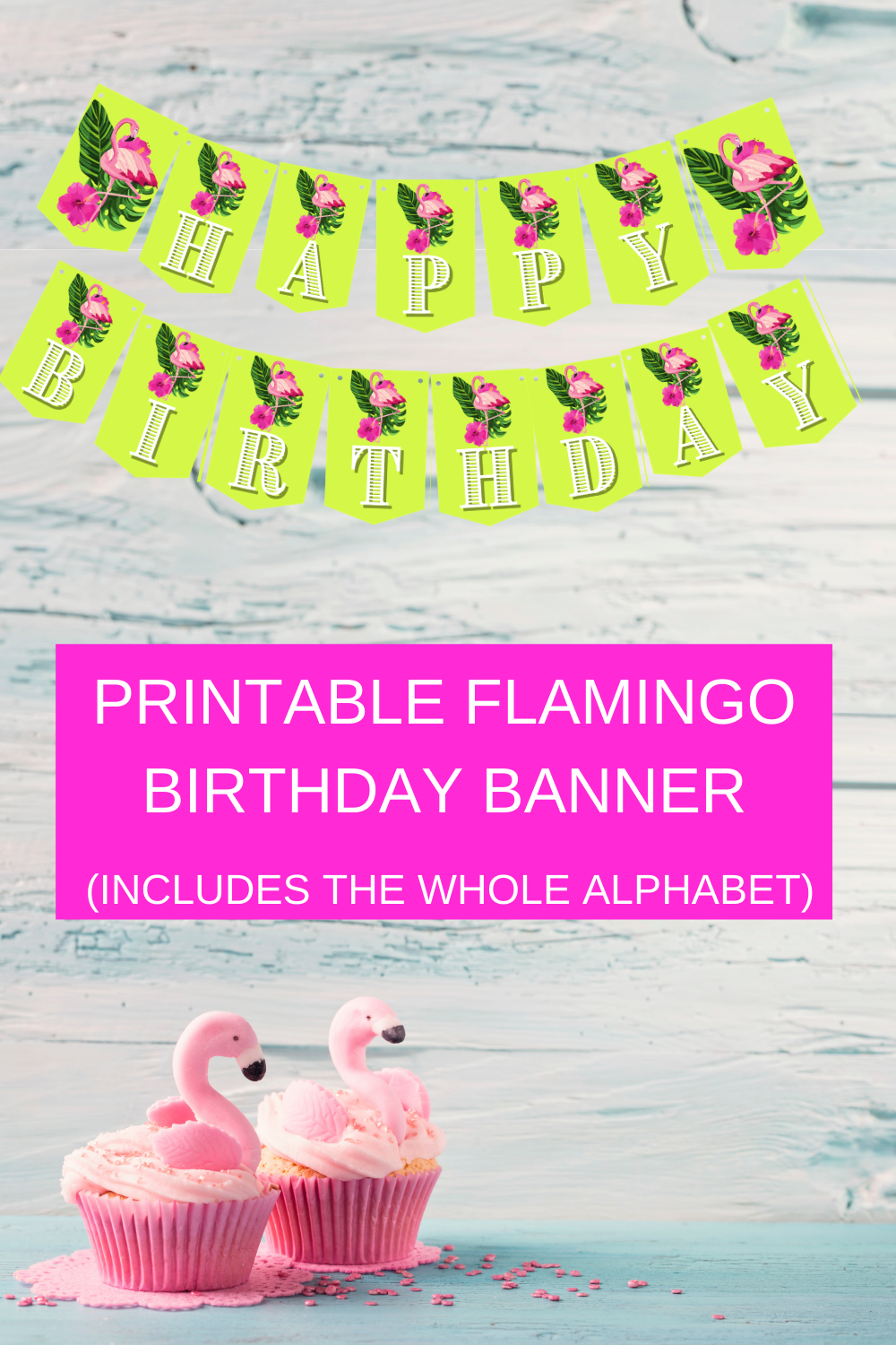 flamingo 1st birthday party banner and name banner
