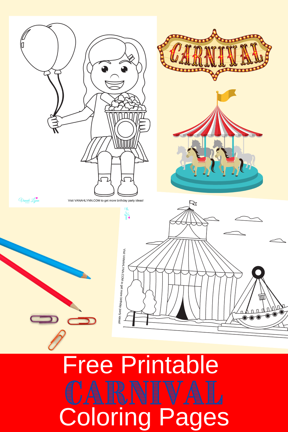 carnival birthday party coloring pages