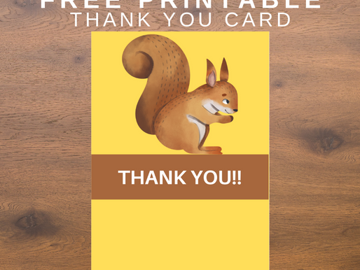 Woodland Thank You Card | Free Printable Woodland Animal Themed Thank You Note | DIY Party Ideas