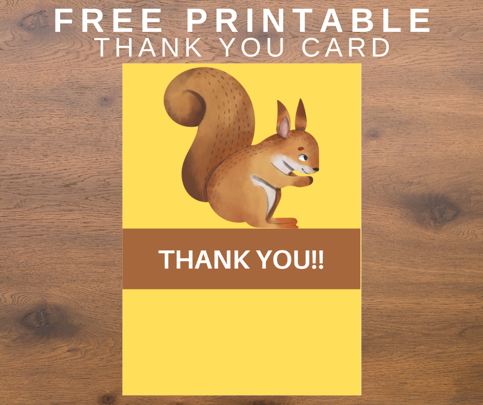 woodland animal thank you card for a birthday party