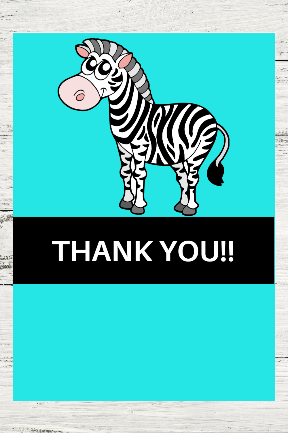 free printable zebra thank you note for kids birthday party