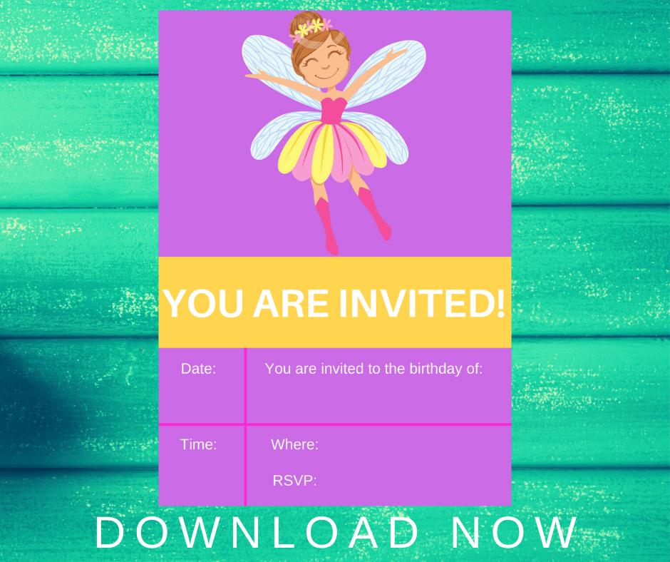 fairy first birthday invitations