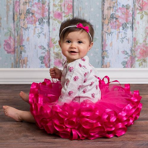 fuchsia pink tutu on toddler girl