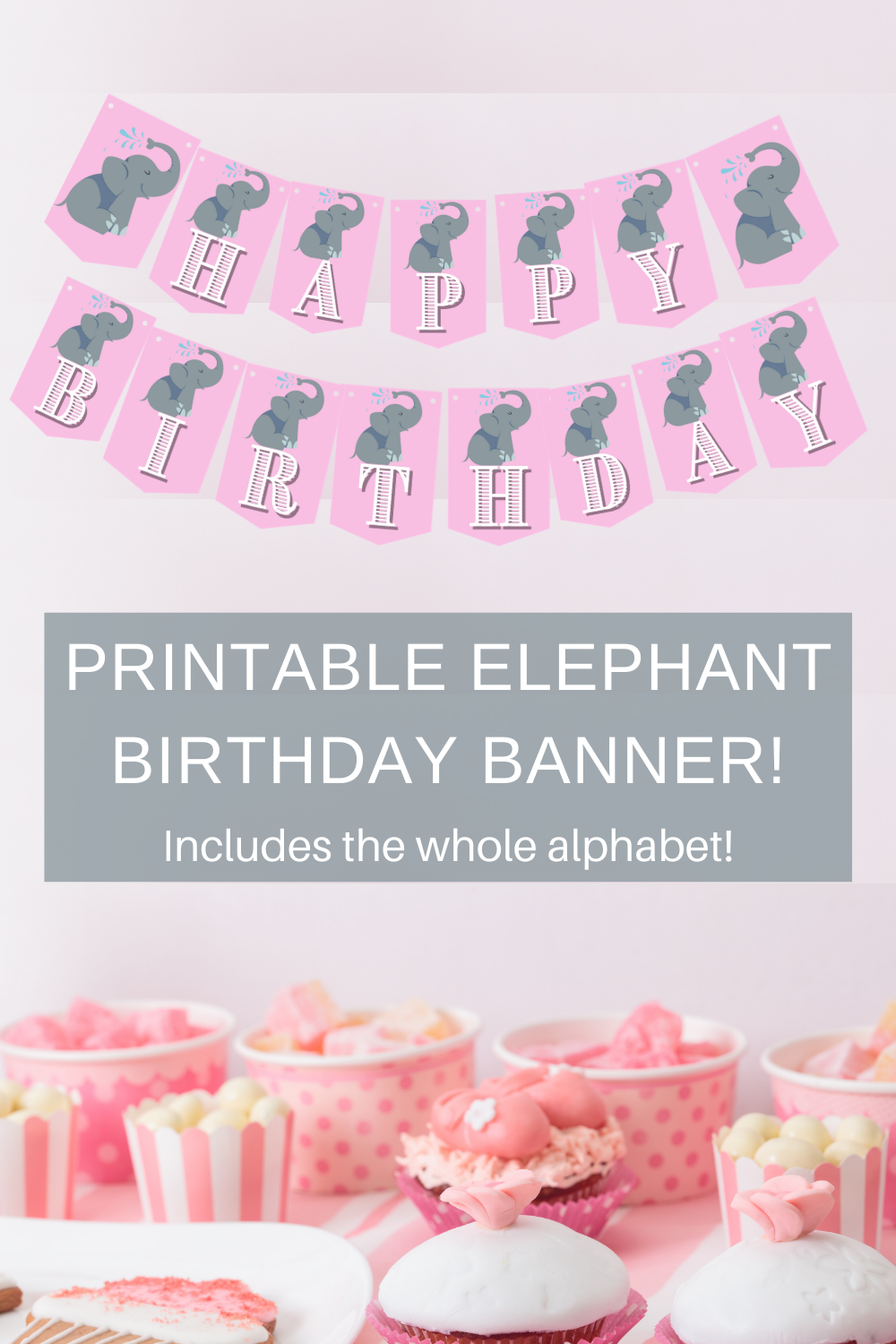 pink and silver elephant birthday banner for little girls birthday