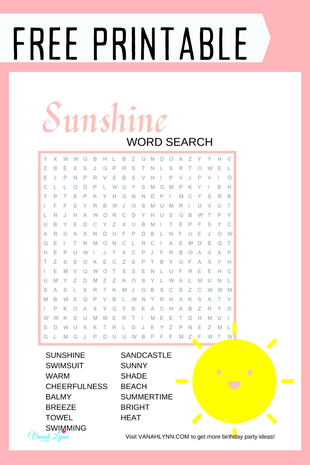 summer word find for little girls birthday party