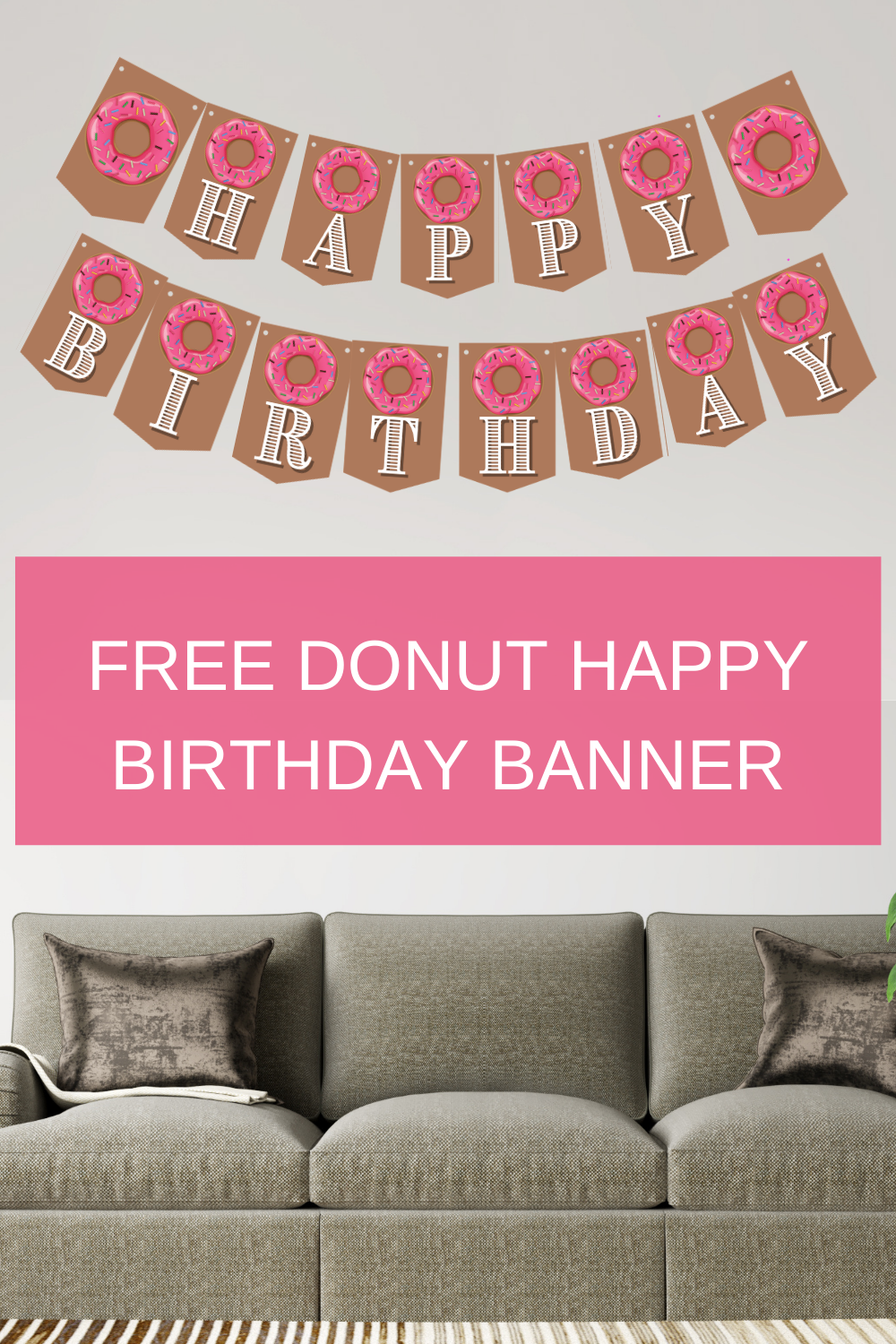 Pink and brown birthday party banner