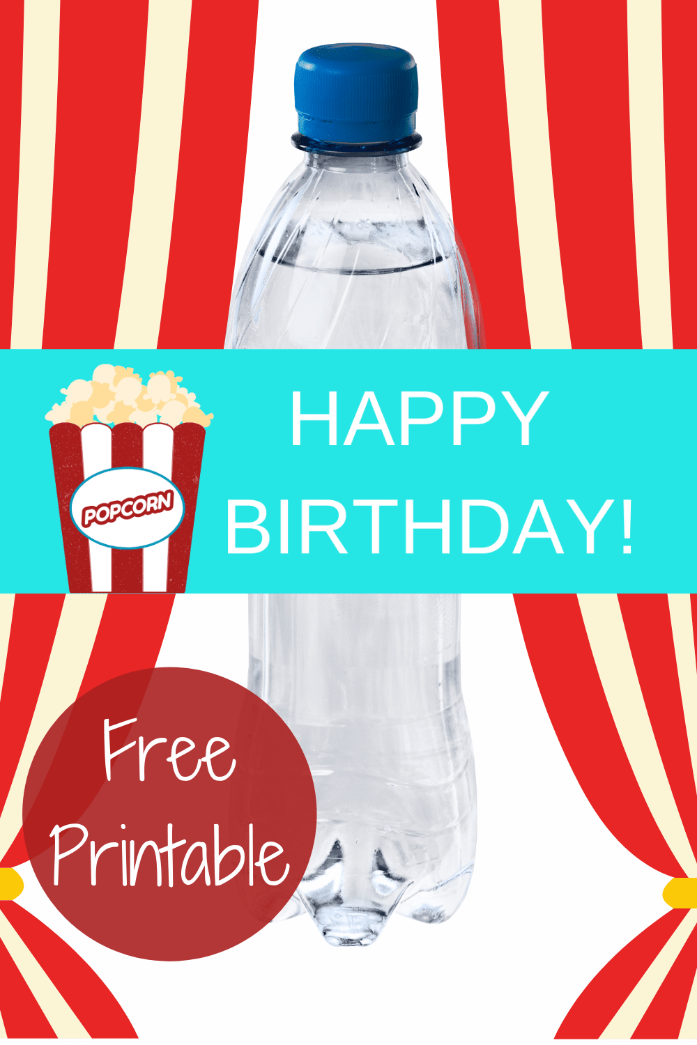 circus carnival party water bottle labels