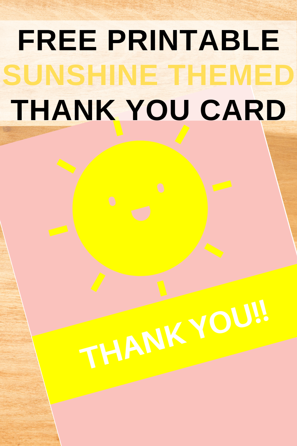 free printable sunshine thank you note for toddlers