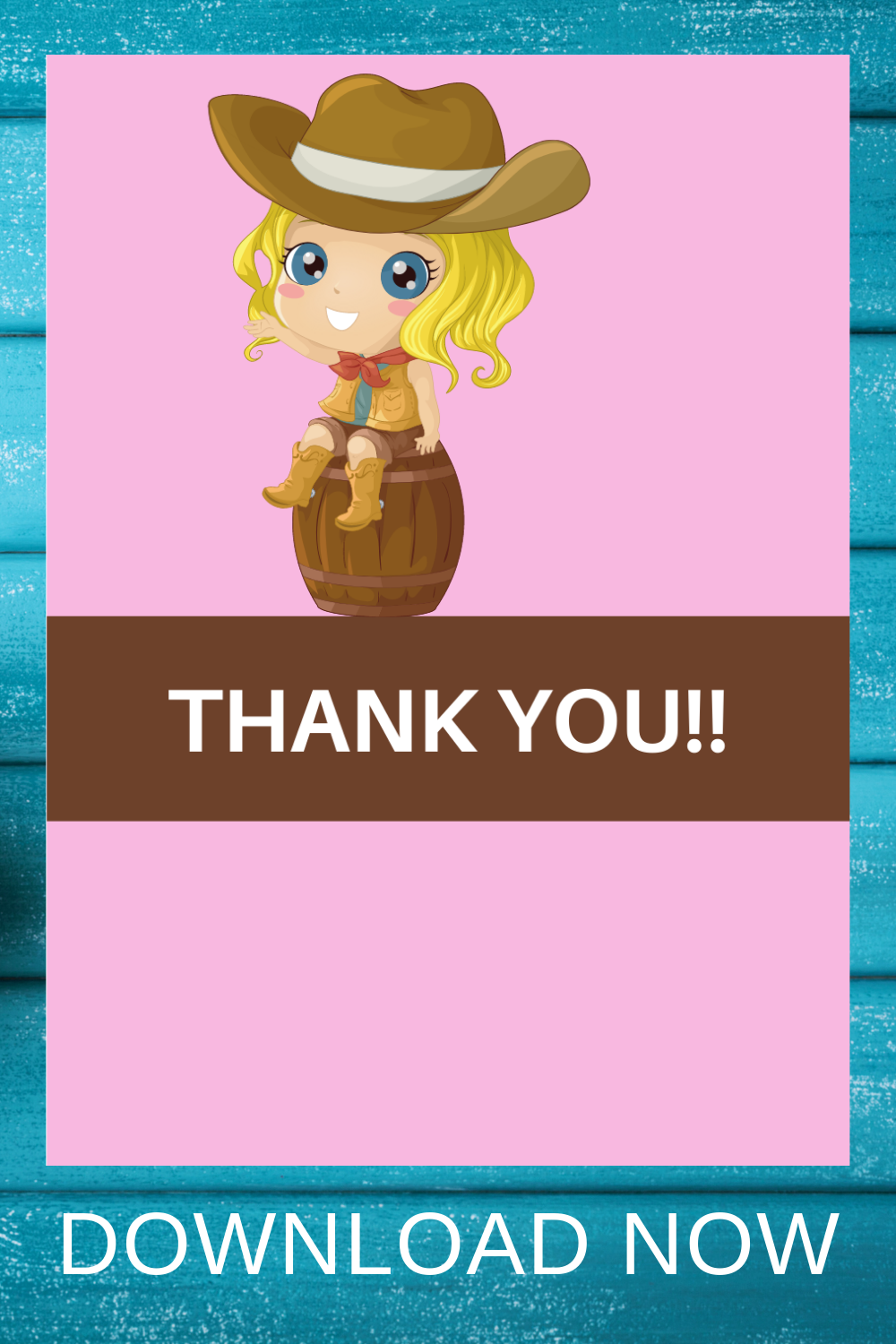 free download: cowgirl themed happy birthday thank you card