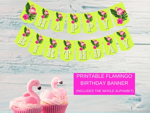 Flamingo Happy Birthday Banner and Flamingo Alphabet Banner | Flamingo Themed Party Decorations