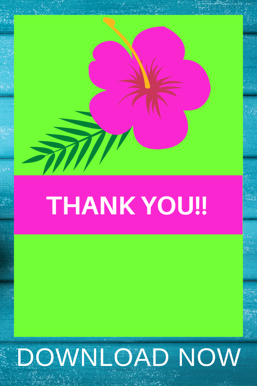 1st birthday tropical free printable thank you card