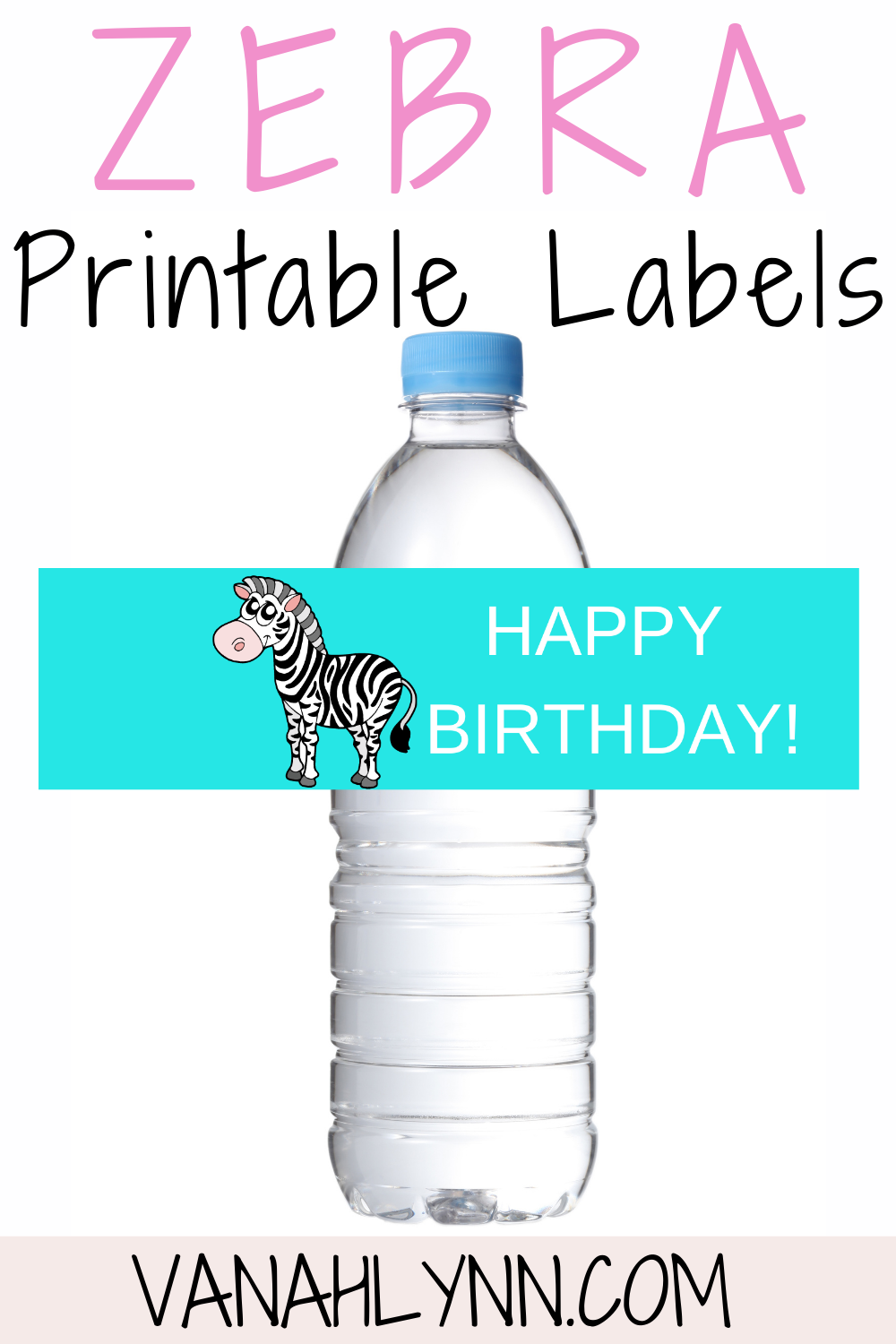 free printable zebra water bottle wrapper for kids