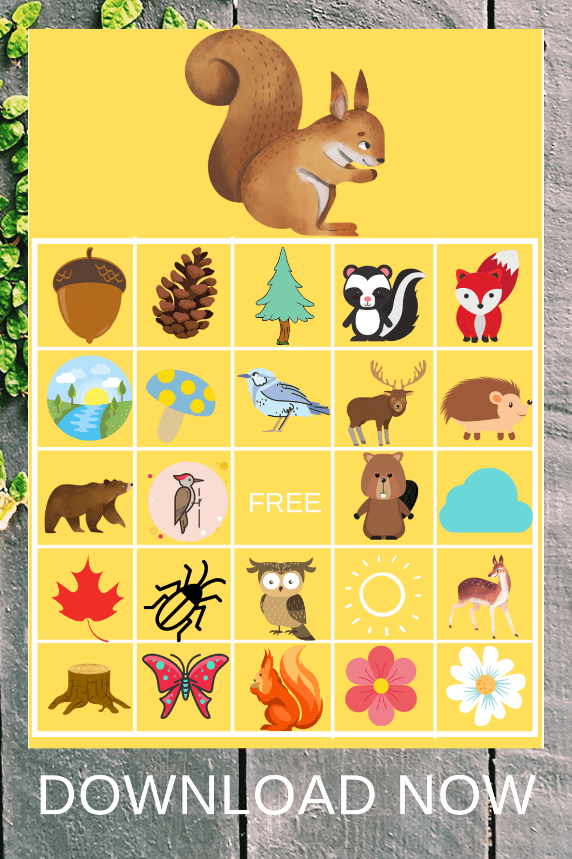 forest animal bingo free printable