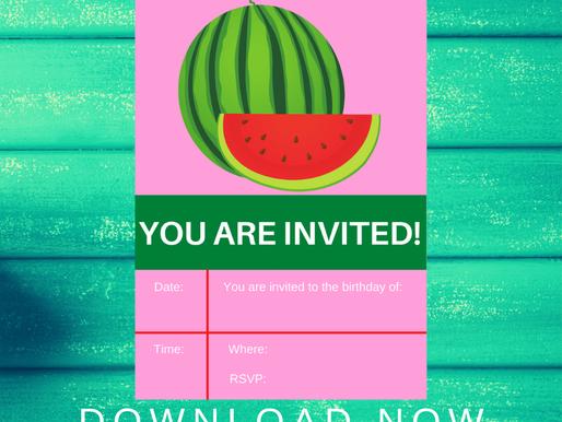 Watermelon Invite | Free Printable Watermelon Invitation | Watermelon Birthday Party Ideas
