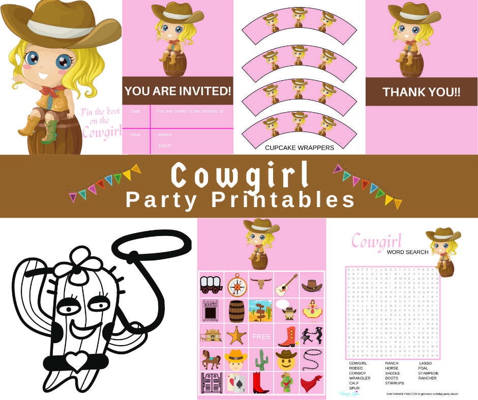 free printable cowgirl party kit