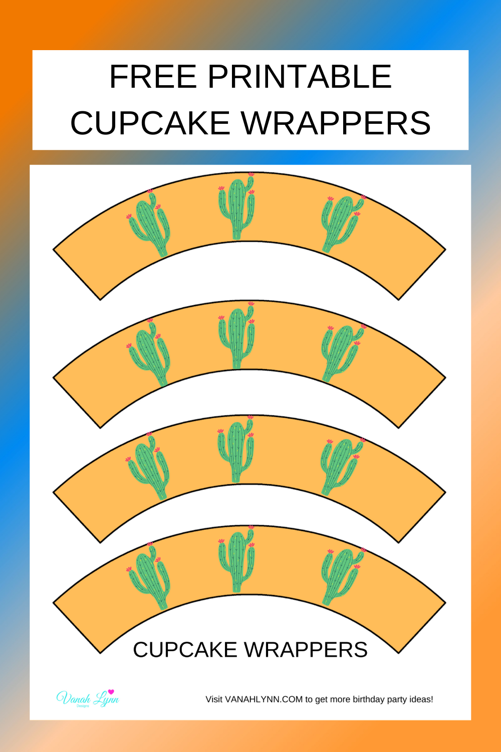 free printable cactus cupcake wrappers