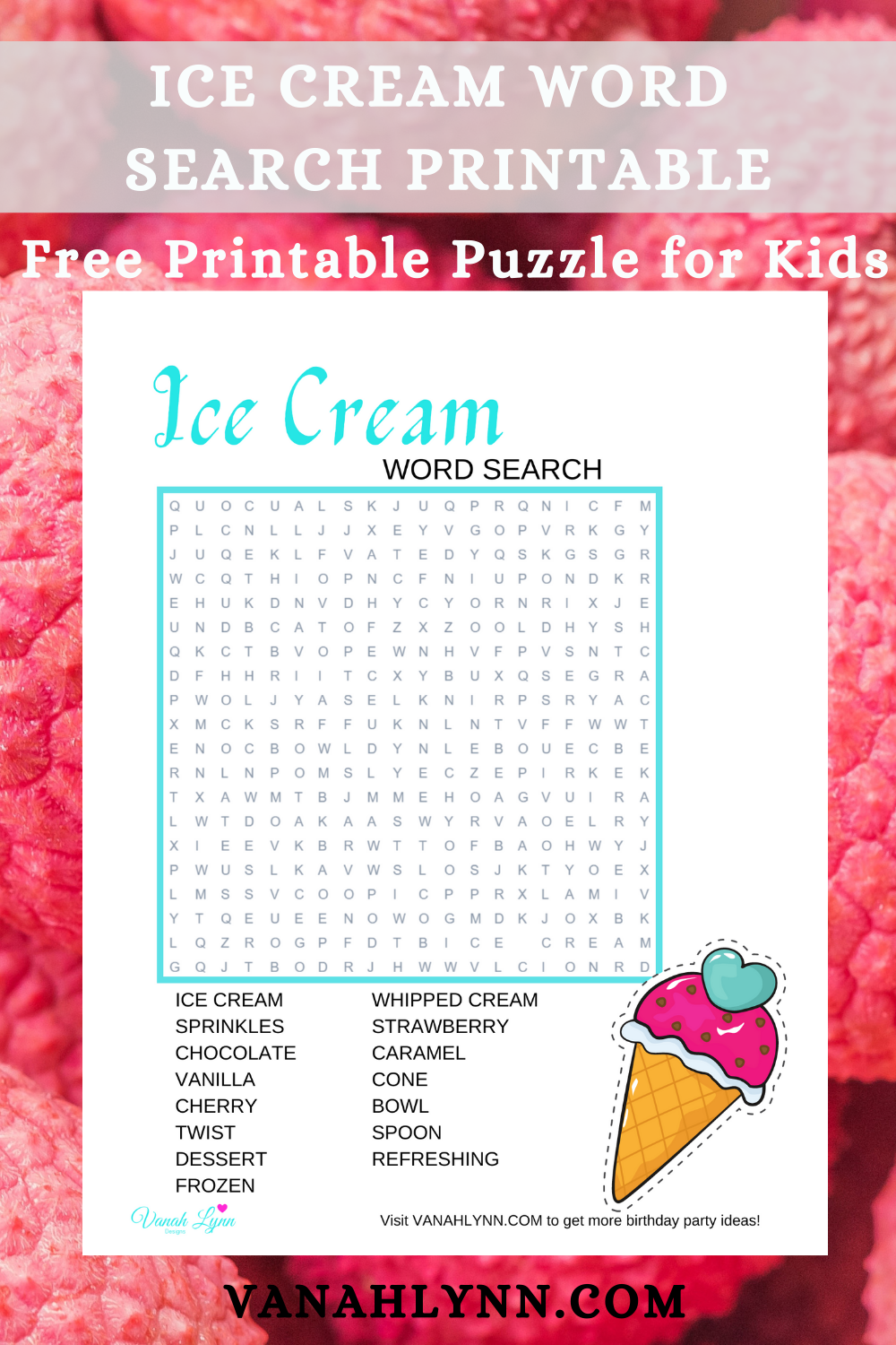 ice cream themed birthday party games for kids