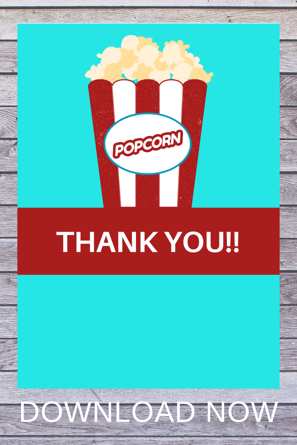 free download: popcorn thank you card for a carnival birthday party