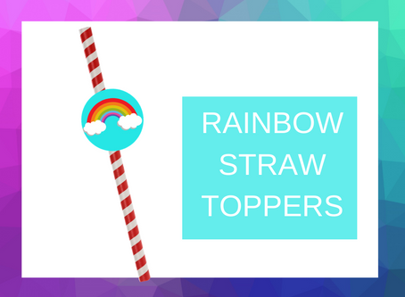 Rainbow Straw Topper | Freebie