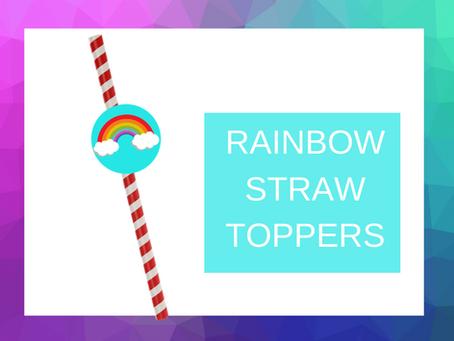 Rainbow Straw Topper | Freebie