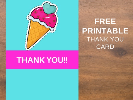 Ice Cream Thank You Card | Free Printable Ice Cream Thank You Note | DIY Ice Cream Birthday Ideas