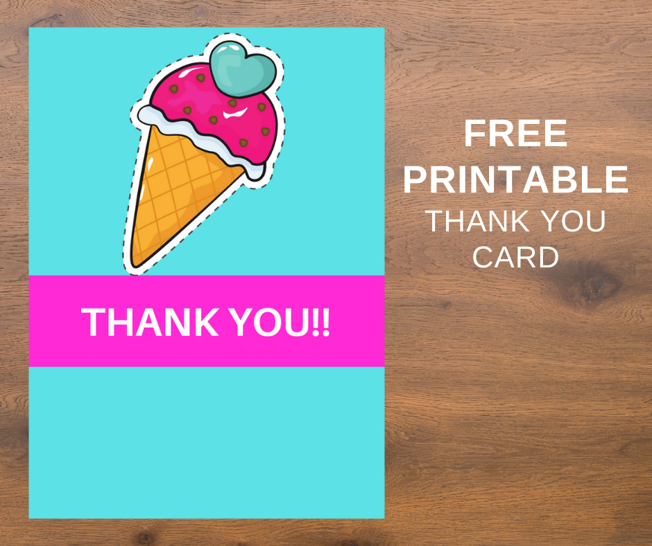 ice cream themed thank you note for kids birthday party