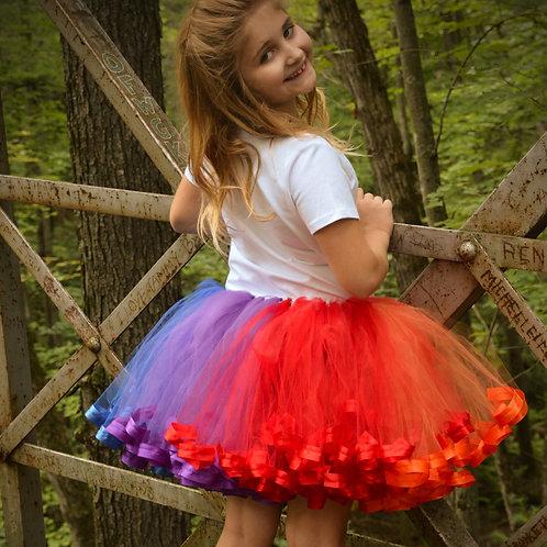 rainbow tutu skirt on a pre-teen