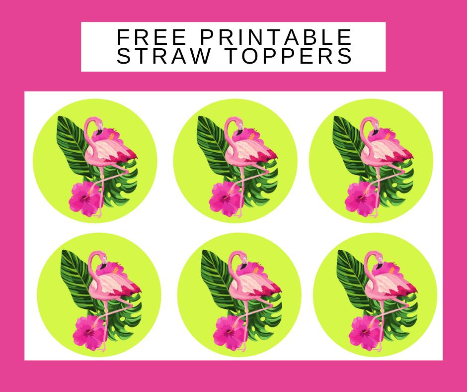 free printable flamingo straw toppers