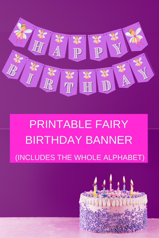 "Fairy Garden Birthday party banner says ""Happy Birthday"""
