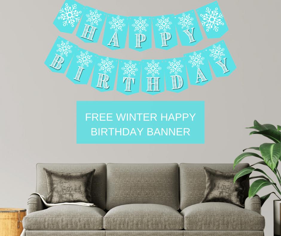 snowflake happy birthday banner