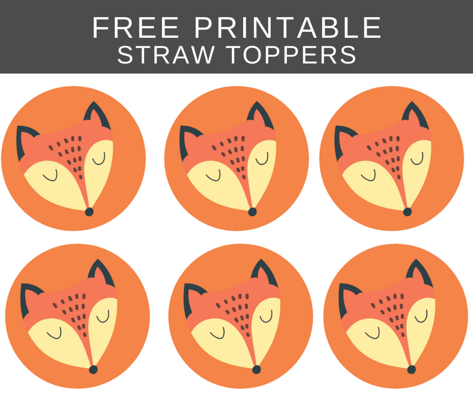 fox straw toppers for kids birthday party