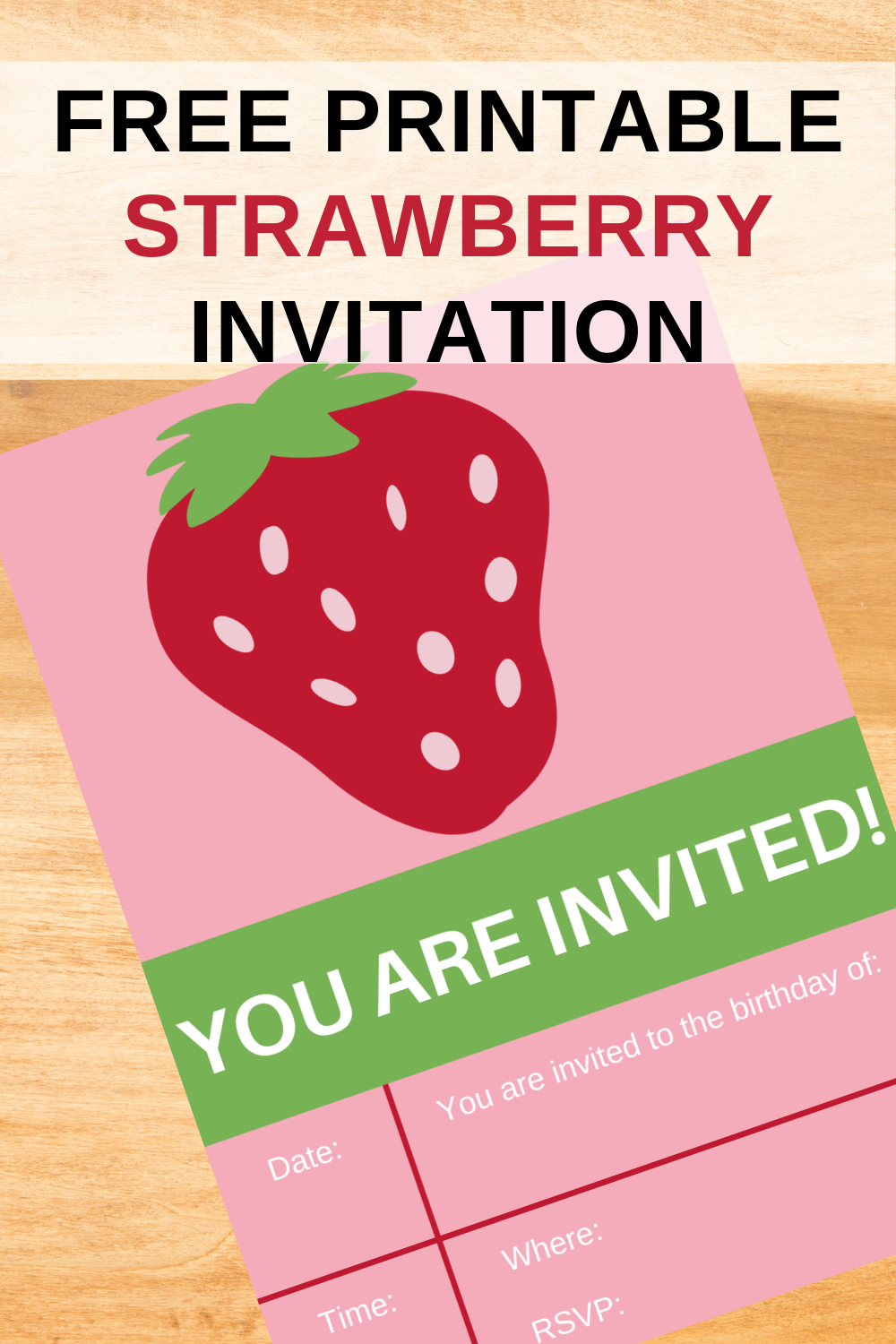strawberry invitation for a little girls birthday party