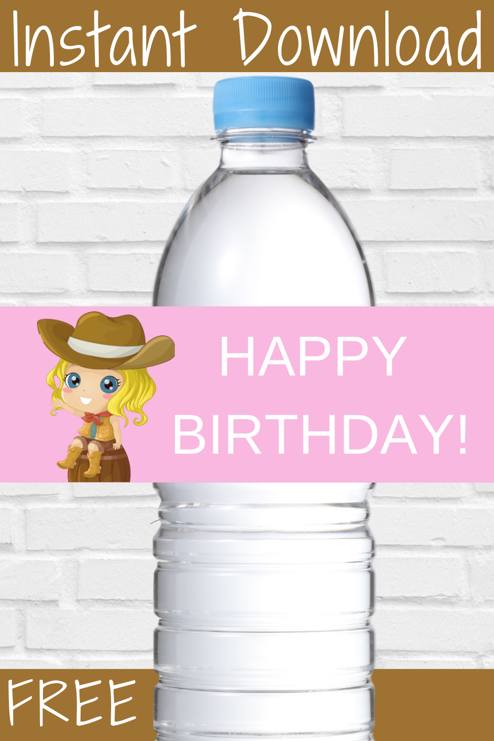 free printable cowgirl themed water bottle wrapper