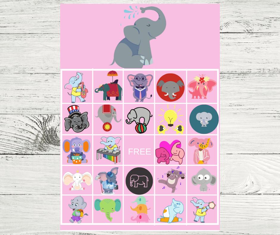 baby elephant bingo cards