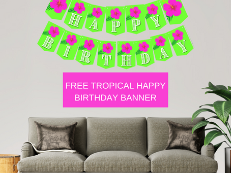 Tropical Themed Happy Birthday Banner and Tropical Themed Alphabet Banner | Tropical Party Décor