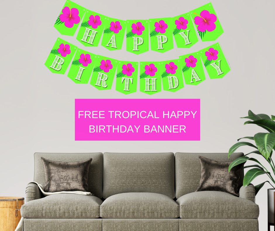 tropical birthday party banner for little girl